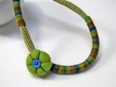 Wool yarn necklace for kids and teen girls grass by ylleannaKids, €20.00