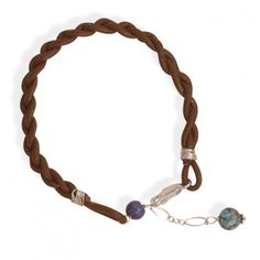 Pretty Ladies Braided Brown Leather Bracelet with Genuine Lapis and Turquoise Beads!