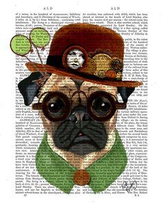 Steampunk Pug With Bowler Hat SteamPug Original Illustration Art Print Mixed Media Painting Dog Print Wall Decor Wall Hanging Digital Print