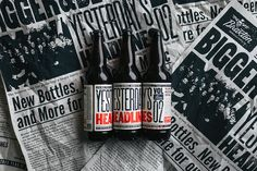 Durham Brand & Co. teamed up with Braxton Brewing Co. to create this  typographically-driven label for one of their special brews, Yesterday's  Headlines.