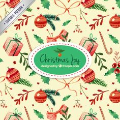 Watercolor christmas joy pattern Free Vector