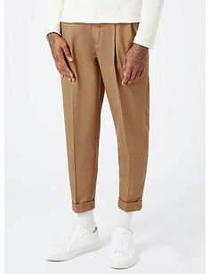 TOPMAN Relaxed-fit tapered crepe trousers
