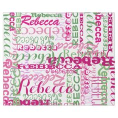 Pink and Green Girl's Name Collage Allover Print Wrapping Paper