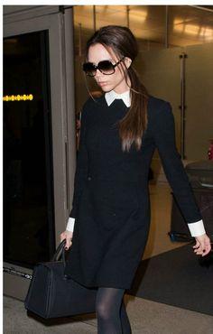 Tops Product Slim Elegant Polo Collar Cotton Long Sleeve Formal Black Dress European Style Women Dresses