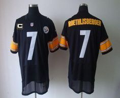 Nike Steelers  7 Ben Roethlisberger Black Team Color With C Patch Men s  Stitched NFL Elite dbd0ab99c