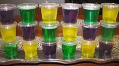 Mardi Gras Jello Shots. Portable for parades, could use cake or king cake flavored vodka!