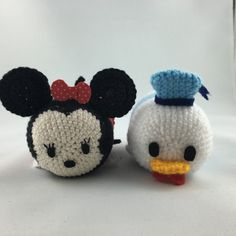 Minnie Mouse and Donald Duck Tsum Tsum #amigurumi #crochet #disney #tsumtsum #minniemouse #donaldduck