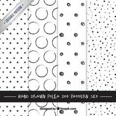 Hand drawn polka dots patterns
