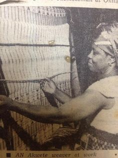 """The Akwete cloth is hand woven in and around the Akwete area of Abia State.It was originally referred to as """"Akwa Miri"""" (Cloth of the water) meaning towel. Akwete cloth weaving is said to be as old as the Igbo nation. 1960s-1970s"""