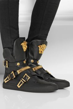 Versace | Embellished leather high-top sneakers, How would you style these? http://keep.com/versace-embellished-leather-high-top-sneakers-net-a-portercom-by-dalabooh/k/2dAXS4ABHS/