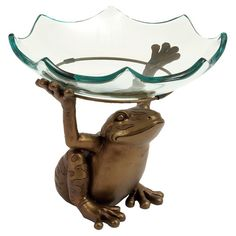 Decmode 10 X 12 Inch Traditional Glass Serving Bowl With A Resin Toad Stand, Gold