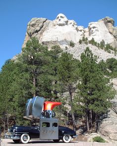 The Zippo Car stops to marvel at the enormity Mount Rushmore. In 1933, the Mount Rushmore project became part of the National Park Service. That just so happens to be the same year the first Zippo Lighter was built.