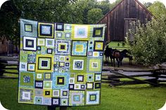 Stephanie's gorgeous square-y quilt - love the different sized blocks and squares!!
