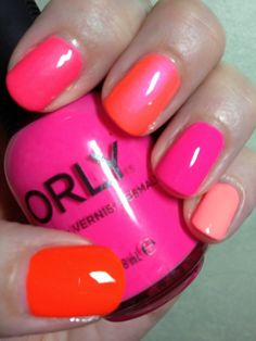 These brights are so sweet and tart they make my teeth ache! Hurts so good! Of course, the images do not pic up the neon well.  Th-P: Finger Paints - Iconic Orange, China Glaze - Life's a Beach, Nina Ultra Pro - Pearly Brights, Orly - Beach Cruiser, China Glaze - Flip Flop Fantasy