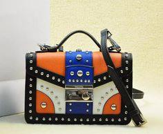 Cheap Prada Handbags tricolor saffiano leather flap bag with metal studs white+orange+blue Handbags 2014, Prada Handbags, Leather Handbags, Prada Saffiano, Blue Purse, Prada Bag, Blue Orange, Lunch Box, Purses