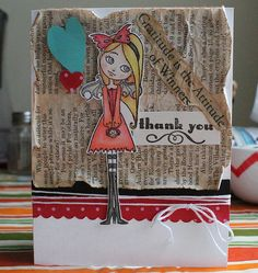 Shabby Thank You Card...with newspape print & string...IMG_6217.