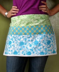 Utility apron in floral print blue and yellow by AmysQuiltsNThings, $20.00