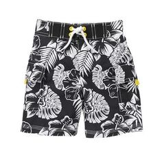 Toddler Boys Black Island Board Shorts by Gymboree