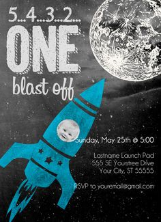 Rocket Ship Birthday Party Invitation - Printable Birthday Invite - To the Moon and Back
