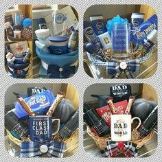 Learn how to make Fathers Day Gift Baskets and Hampers that he'll love! You can buy all the supplies you need at your local dollar store for these awesome Fathers Day presents! Diy Father's Day Gifts To Make, Cheap Fathers Day Gifts, Fathers Day Presents, Father's Day Diy, Gifts For Dad, Fathers Day Ideas For Husband, Fathers Day Hampers, Boyfriend Gift Basket, Romantic Ideas