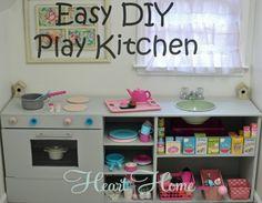 diy play kitchen- also diy closet playhouse
