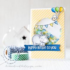 Lawn Fawn - Year Four + coordinating dies, Blue Skies + coordinating die, Let's Polka 6x6 paper _ super cute birthday shaker card by Debby at LimeDoodleDesigns