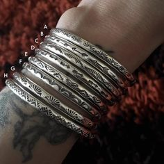 Bracelets For Ladies : Individual Stamped Sterling Stacker Cuffs- Silver Stacking Cuff Bracelets- Hand Stamped Silver Bracelets, Cuff Bracelets, Silver Rings, Silver Cuff, 925 Silver, Bling Bling, Sterling Silver Jewelry, Handmade Silver Jewellery, Stamped Jewelry
