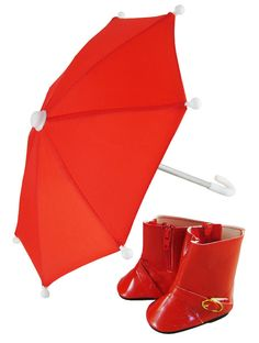 """Red Umbrella & Rainboots for 18"""" American Girl Doll Clothes Perfect for Molly #DollClothesSewBeautiful"""