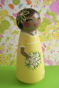 Hand Painted Love Boxes CUSTOM Happy Birthday Girl Peg Doll Cake Topper...This little doll is 3.5 inches tall. She is a birthday cake topper or dolly for any little one over the age of 5.