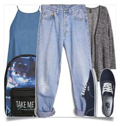 """""""School Style"""" by madeinmalaysia ❤ liked on Polyvore featuring H&M, Disney, Levi's and Vans"""
