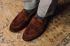 Brown Oxfords, Suede Loafers, Brogues, Brown Suede, Loafers Men, Dressy Shoes, Cotton Suit, Prince Charles, Low Heels