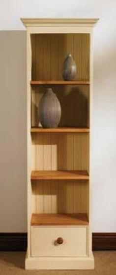 Mottisfont Painted Slim Jim Bookcase (Green, Metal, Oak)