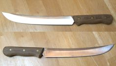 Vintage Chicago Cutlery 45S Chef's Butcher Carving Chopping Cleaver Scimitar 15 Inch Blade Walnut Hardwod Handle Full Tang Brass Rivets Huge by MarksVintageShoppe on Etsy