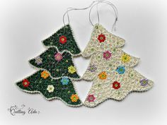 Set of 2 Christmas tree - Christmas ornament-quilled ornament tree-quilling paper-paper Christmas ornament
