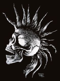 skull mohawk Punk Tattoo, Skull Tattoos, Skull Pictures, Cool Pictures, Iron Maiden Posters, Engraving Art, Funny Iphone Wallpaper, Skull Artwork, Extreme Metal
