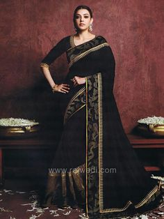 Look like a star in this Black Art Silk Saree perfect for cocktail party or any family function. The border is completed with sequins and zari embroidery detailing to complete the look. This saree is graceful and moves well. Bollywood Designer Sarees, Saree Trends, Art Silk Sarees, Celebrity Portraits, Fashion Shoot, Indian Actresses, Sari, Photoshoot, Celebrities
