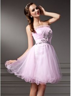 A-Line/Princess Strapless Short/Mini Tulle Dress With Ruffle Beading - Front View