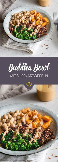 This Buddha Bowl has a colorful selection of healthy fillers for you. Buttery sweet potatoes meet quinoa, kale and chickpeas. This Buddha Bowl has a colorful selection of healthy fillers for you. Buttery sweet potatoes meet quinoa, kale and chickpeas. Salmon Recipes, Lunch Recipes, Vegetarian Recipes, Healthy Recipes, Food Bowl, Bol Buddha, Paleo Dinner, Superfood, Eating Habits