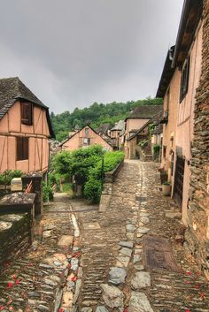 cobblestone, timber frame, town, street, Conques, France