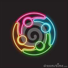 People Social Group Neon Logo