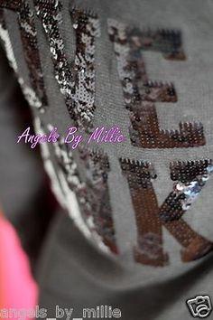 99 Cent #LaborDay #VSPINK #ebay #auction ends #SundayNEW Victoria'S Secret Love Pink M Black Bling Ribbed Knit Jersey Style Shirt TOP   eBay