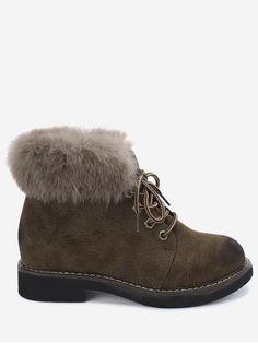 Lace Up Low Heel Fur Boots - KHAKI 39