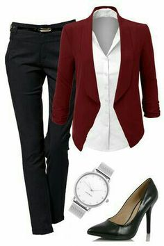 Business style with black pants, white button down and burgundy blazer. Finish the look with black pumps, a silver watch with minimal style and a nice leather bag. Image source