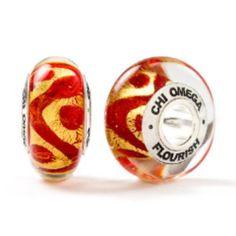 Chi Omega Flourish Bead ~