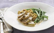 Roast Pork Tenderloin Supper With Cream Cheese Sauce and Stuffing