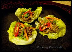 Skinny San Choy Bau for the Thermomix - deliciously tasty Chinese minced pork or chicken, full of flavour, served with crispy lettuce cups to wrap it in. Low carb and low fat from only 274 calories for a serving.