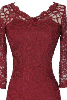 Open Back Fitted Lace Dress With Three Quarter Sleeves in Wine Red