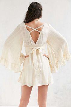Kimchi Blue Angel-Sleeve Empire Waist Mini Dress