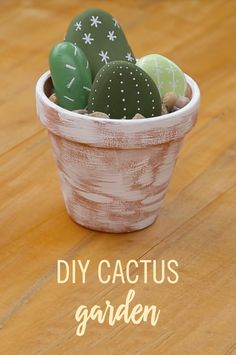 "Trusting children with plants is usually an epic fail. This DIY Cactus Garden is the perfect solution. With some rocks, paint, and a pot, you will have a hassle-free ""plant"" that will bring your room to life."