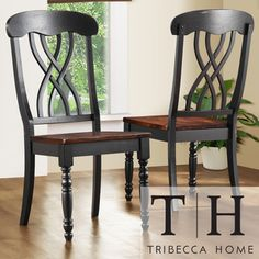 TRIBECCA HOME Mackenzie Country Black Dining Chair (Set of 2) $166 for 2
